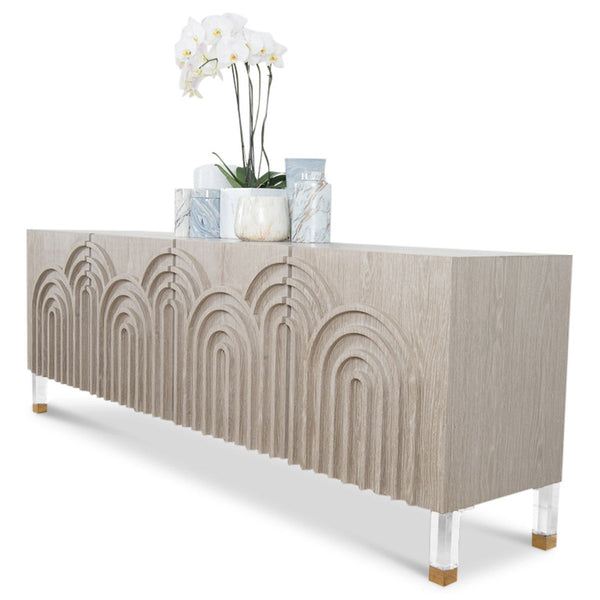 Arches 4 Door Credenza in Oak - ModShop1.com