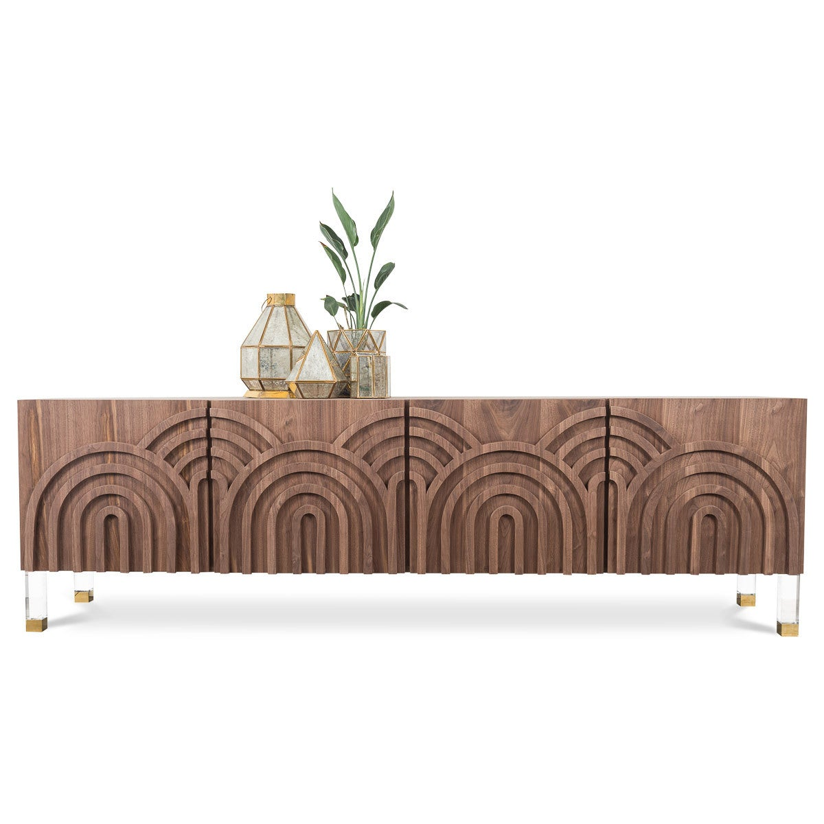 Arches 4 Door Credenza in Walnut - ModShop1.com