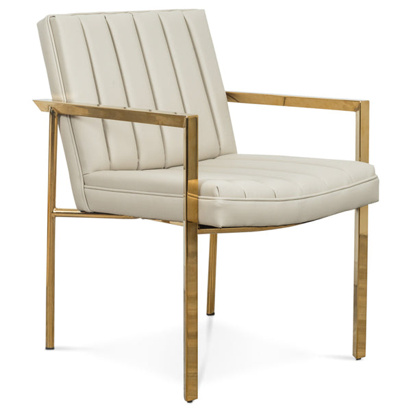 Argentina Dining Chair in Cream Faux Leather