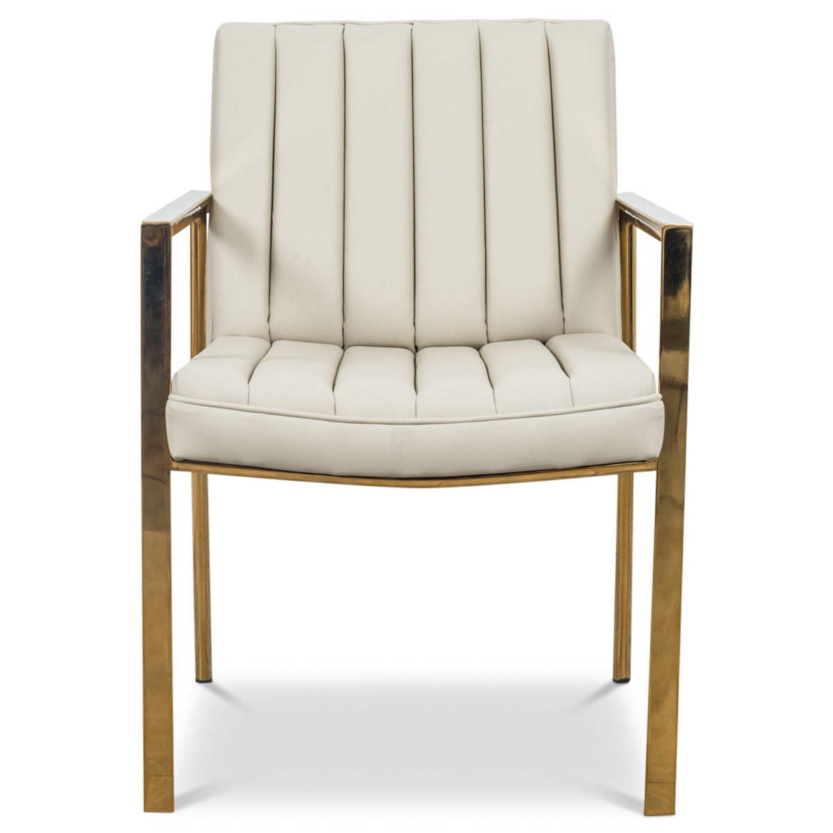 Argentina Dining Chair in Cream Faux Leather - ModShop1.com