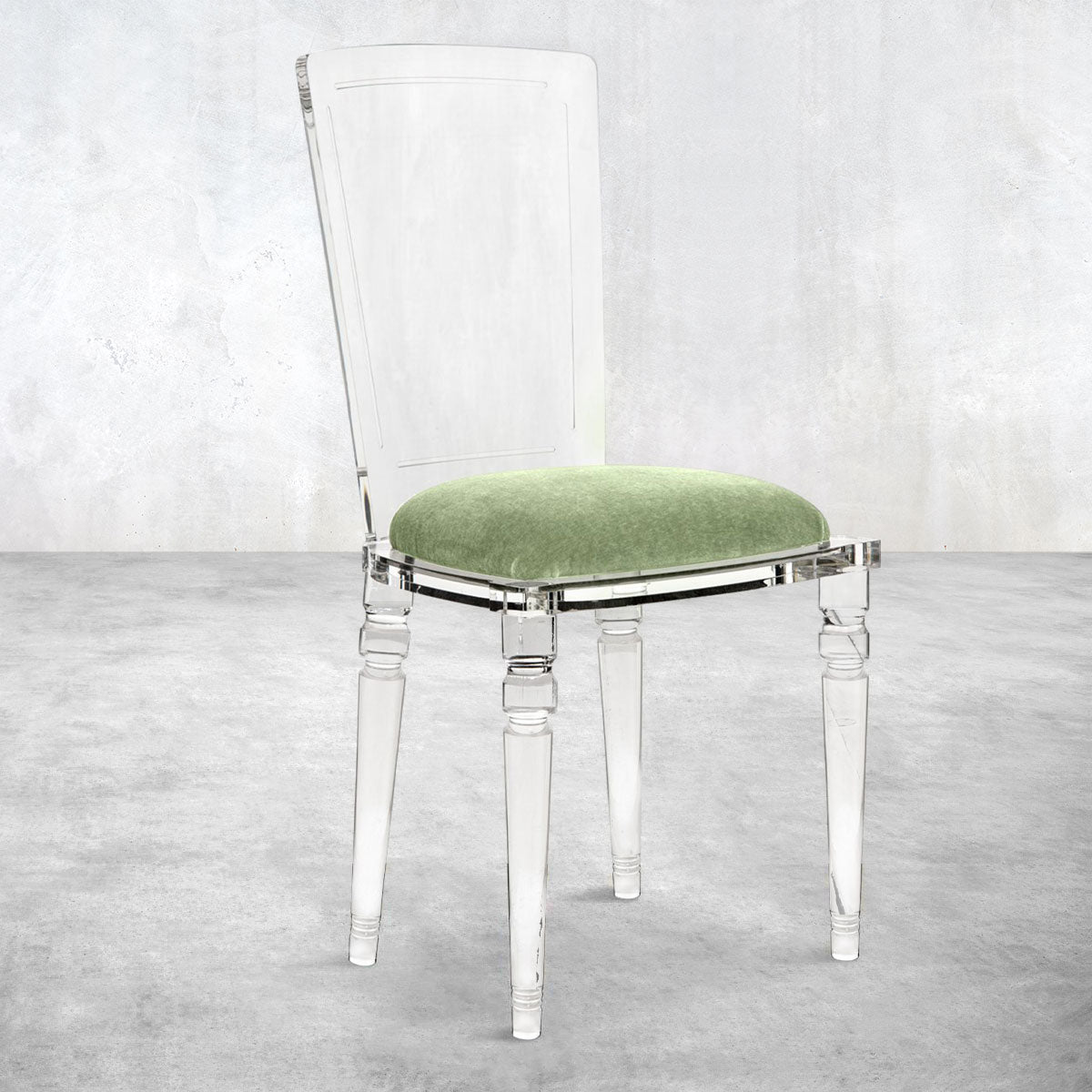 Armless Juliette Lucite Chair in Mohair