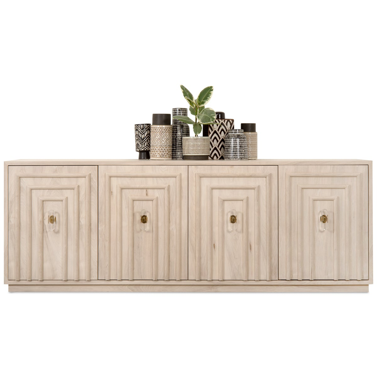 Art Deco 4 Door Credenza in Bleached Walnut - ModShop1.com