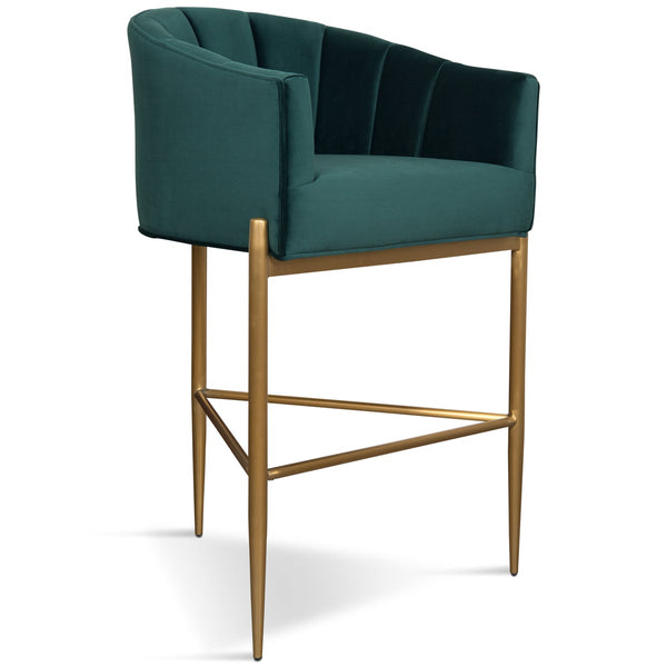 Art Deco Bar And Counter Stool In Velvet With Channel Tufting