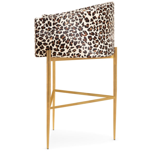 Art Deco Bar and Counter Stool in Leopard Print Cowhide - ModShop1.com