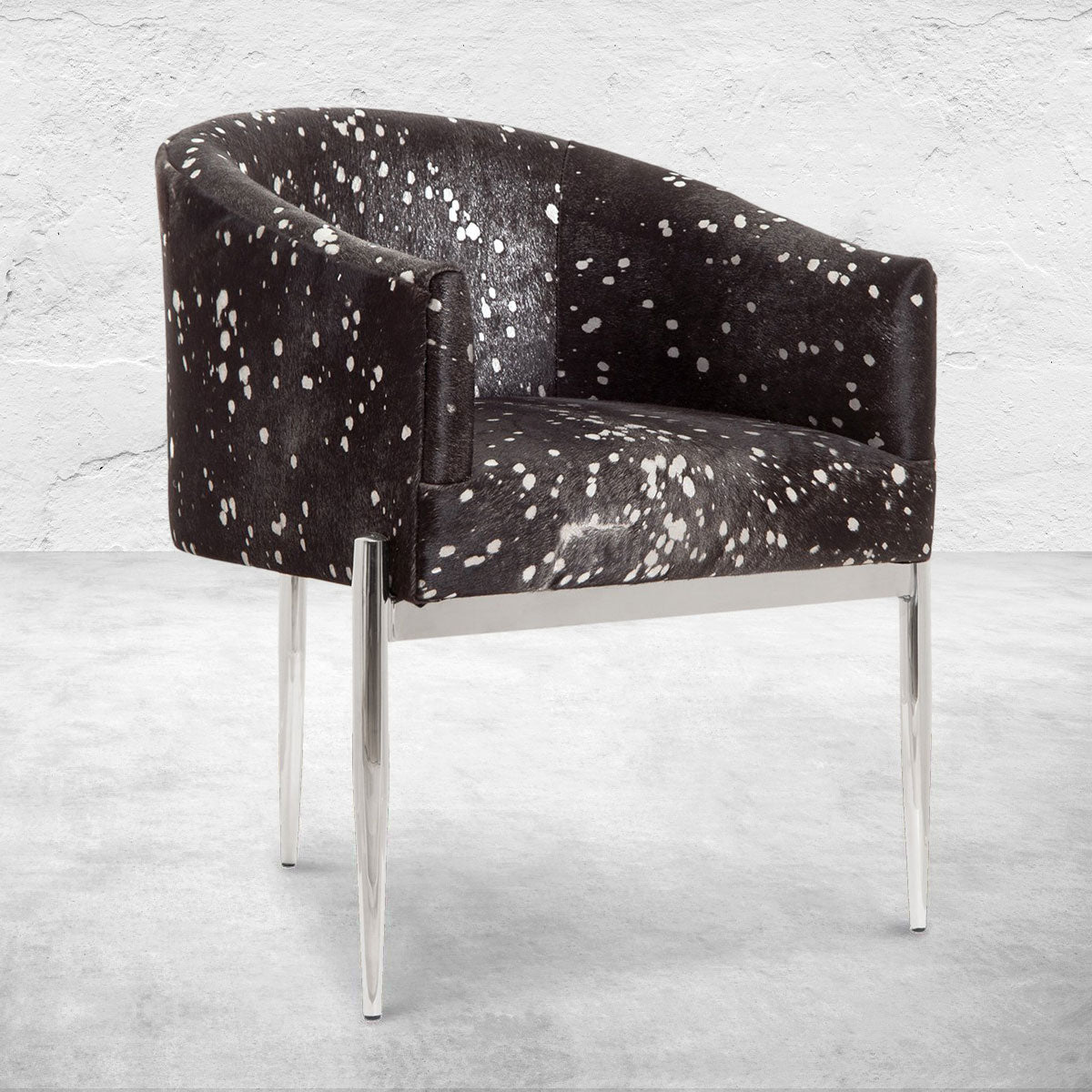 Art Deco Dining Chair Silver Speckled Cowhide Dining Chair Modshop