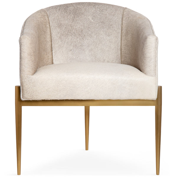 Art Deco Dining Chair in Champagne Cowhide