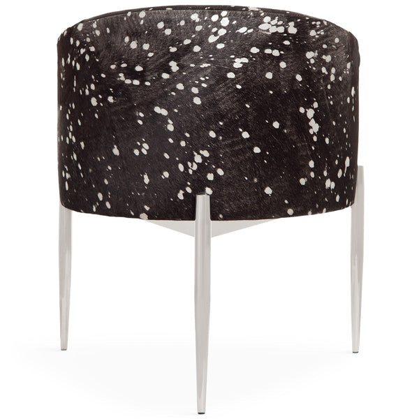 Art Deco Dining Chair in Black Silver Speckled Cowhide - ModShop1.com
