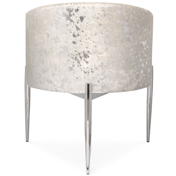 Art Deco Dining Chair in Silver Speckled Cowhide