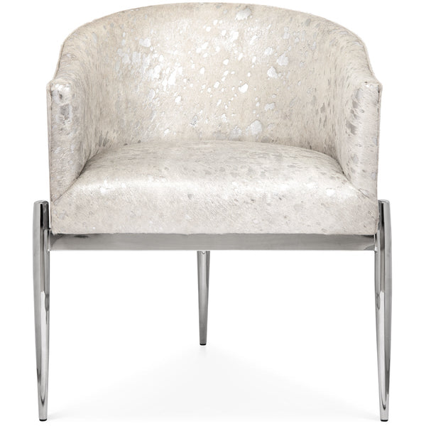 Art Deco Dining Chair in Silver Speckled Cowhide - ModShop1.com