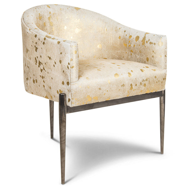 Charmant Art Deco Dining Chair In Golden Cowhide