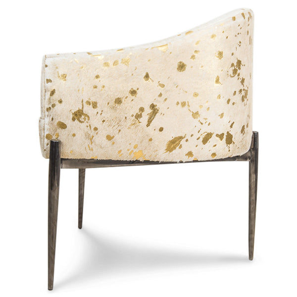 Art Deco Dining Chair in Golden Cowhide - ModShop1.com