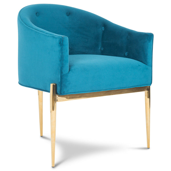 Art Deco Dining Chair in Ice Blue Velvet