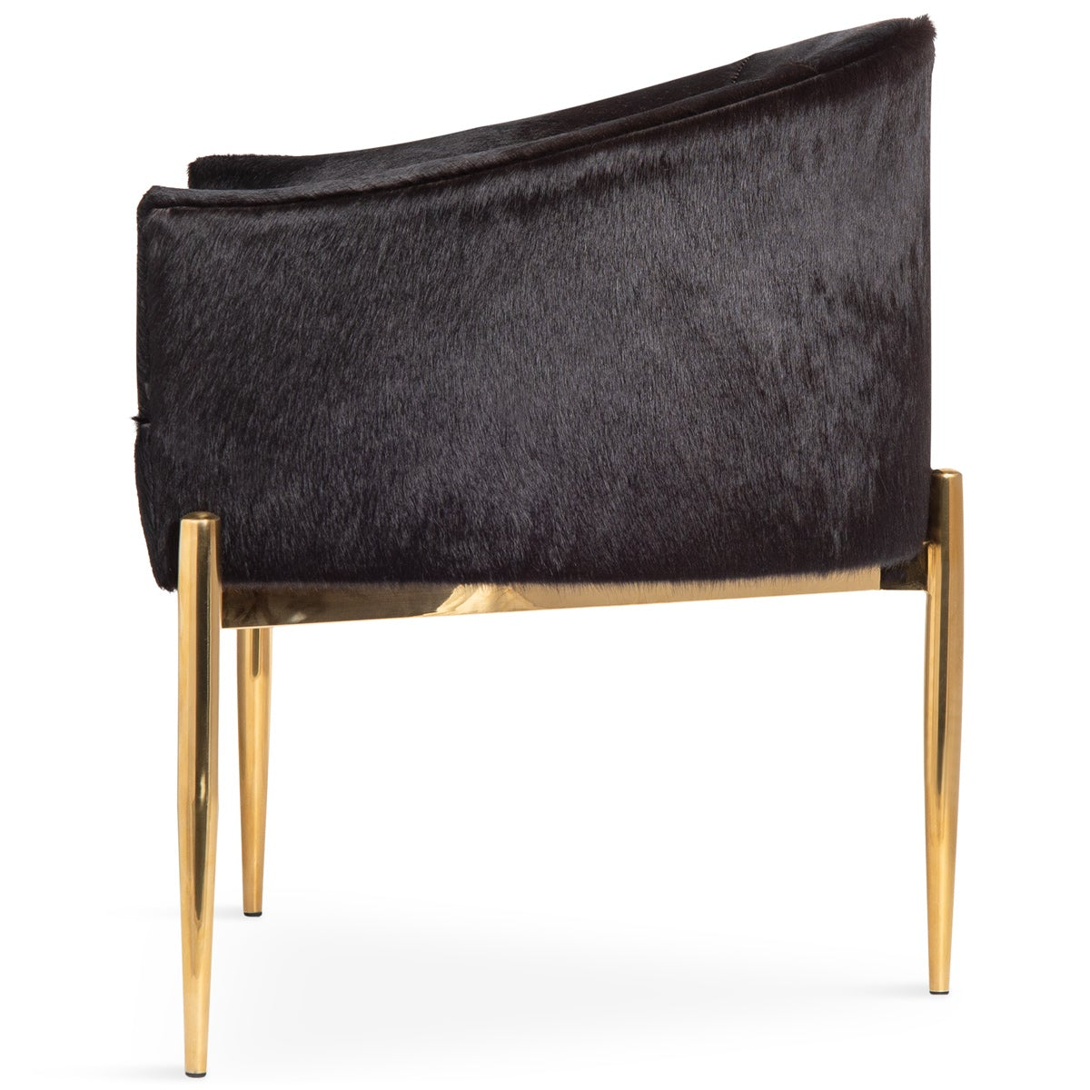 Art Deco Dining Chair in Black Cowhide
