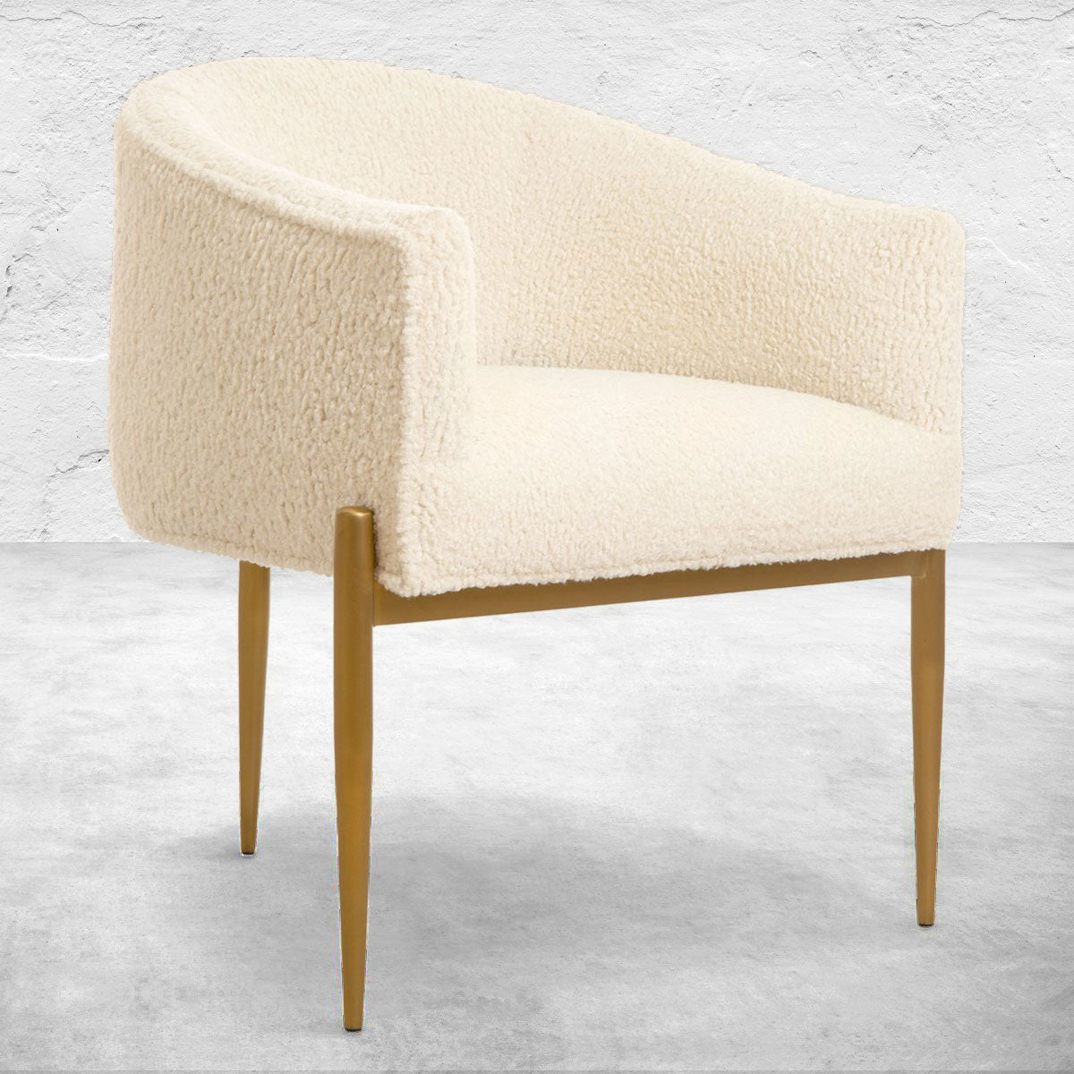 Art Deco Dining Chair in Faux Sheepskin