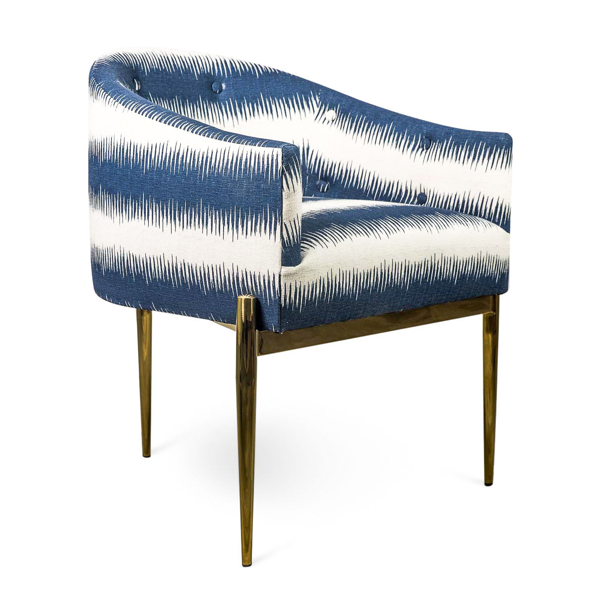 Top Art Deco Dining Chair - Striped Ikat Wingback Chair - ModShop VK87