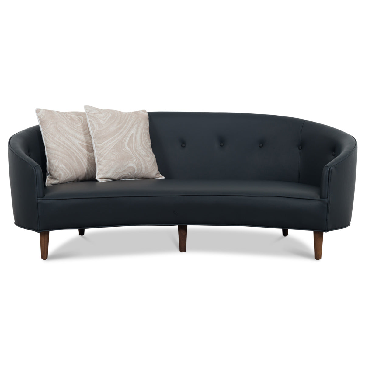 Art deco petite sofa in leather modshop1 com