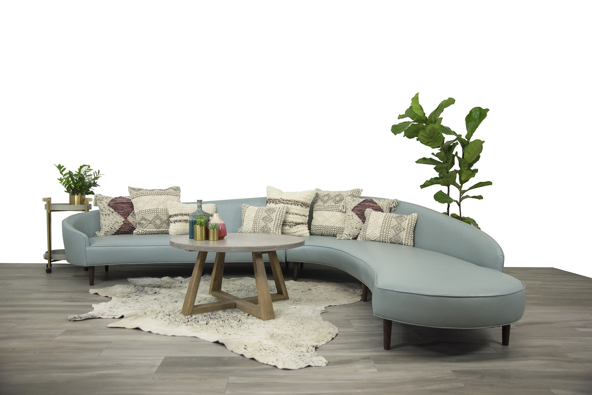 Art Deco Sectional - Ice Blue Faux Leather Upholstery - ModShop