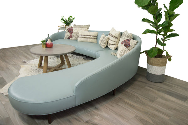 Art Deco Sectional in Ice Blue Faux Leather