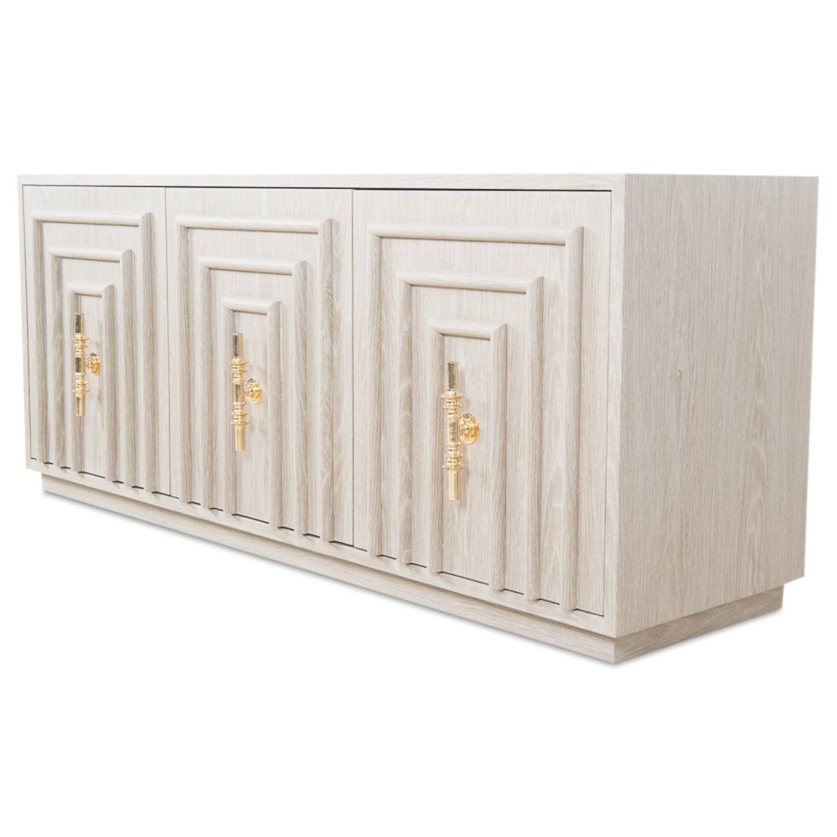 Art Deco 3 Door Credenza in Light Oak - ModShop1.com