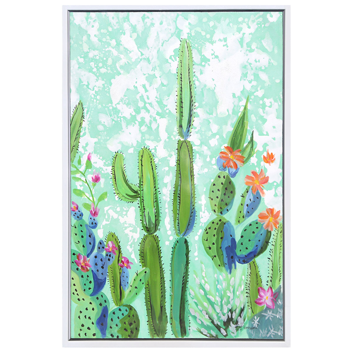 Framed painting of four cacti with cacti flowers on a blue-green watercolor style background.