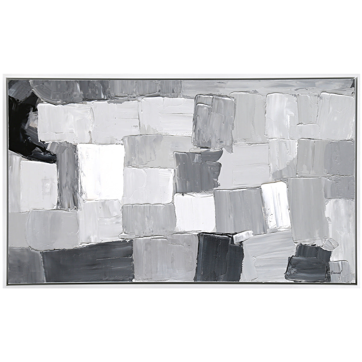 Monochromatic abstract painting of gray squares with a simple white frame.