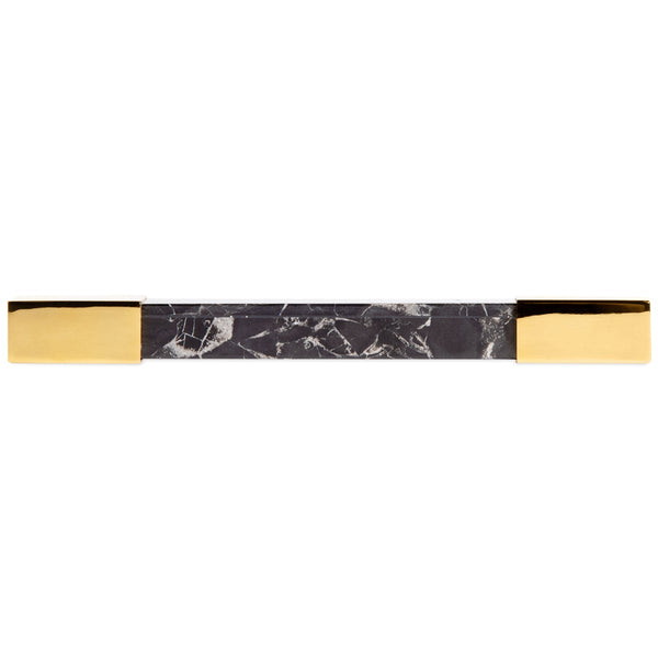 Square Portoro Marble with Brass Bar Pull