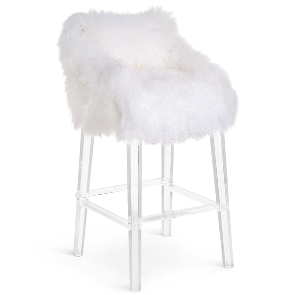Beverly Hills Bar and Counter Stool in Mongolian Fur - ModShop1.com