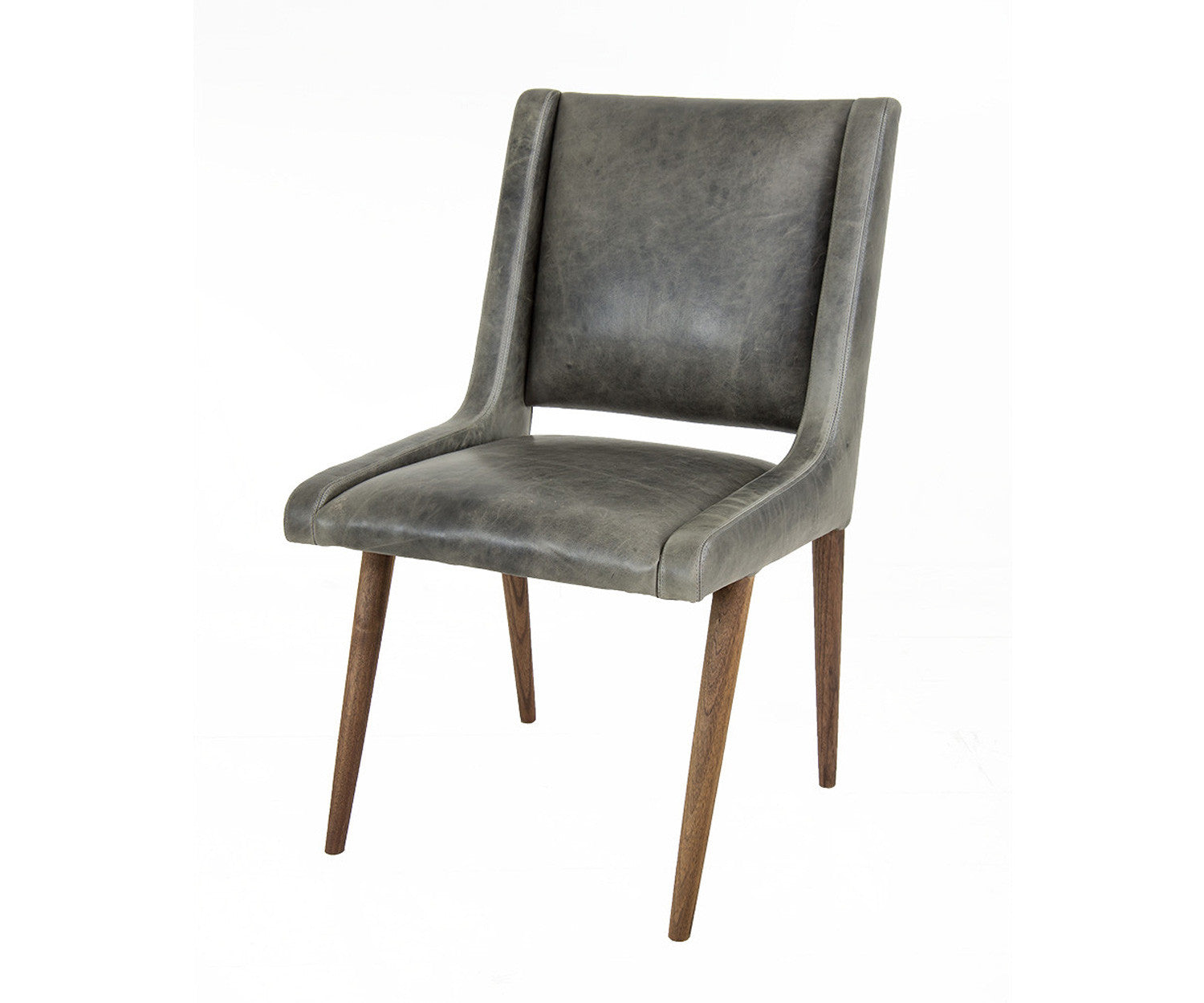Mid Century Dining Chair In Distressed Grey Leather Modshop