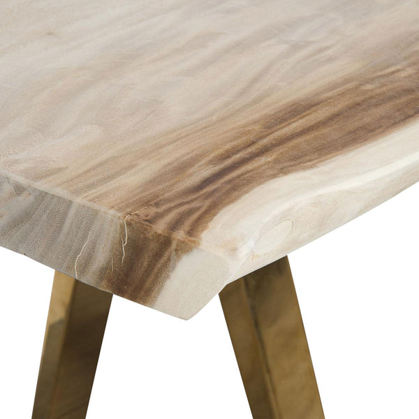 Bleached Eco Slab Desk with Brass A-Frame Legs