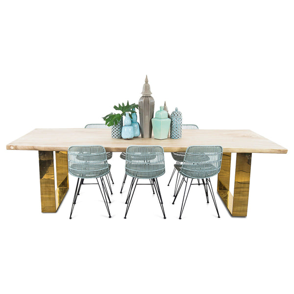 9' Bleached Eco Slab Dining Table with Shinny Brass U-Legs