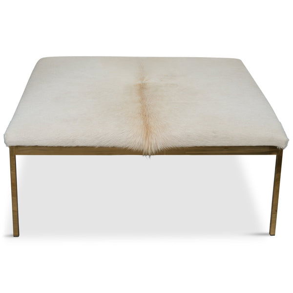 Bordeaux Ottoman in Off-White Cowhide