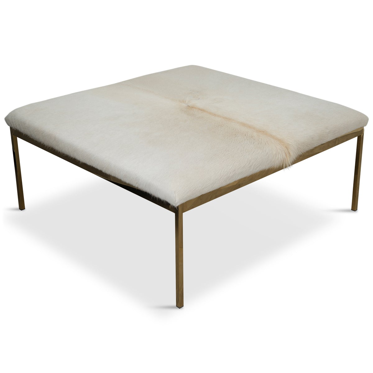 Bordeaux Ottoman in Off-White Cowhide - ModShop1.com