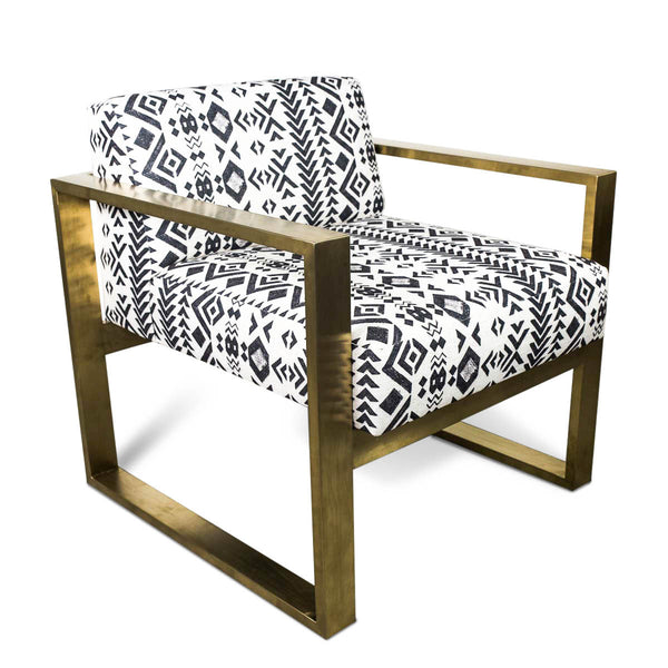 Brass Kube Chair in Mudcloth Print