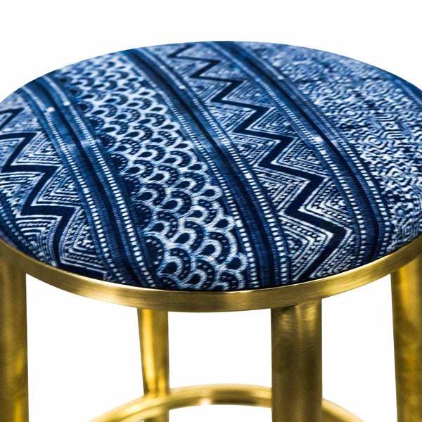 Cape Town Bar Stool in Hand Printed Indigo Mud Cloth