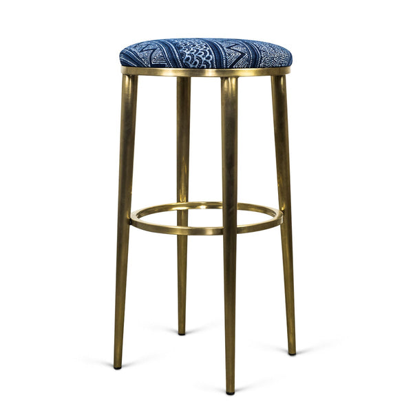 Cape town bar stool in hand printed indigo mud cloth modshop for Kitchen stools cape town