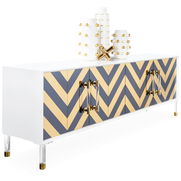 Capri Mirrored 4 Door Credenza