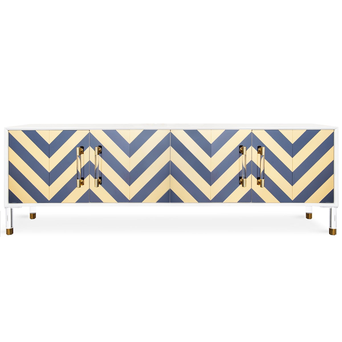 Four-door credenza with a gray and yellow chevron design on the front, a white top and combination acrylic and brass legs and door pulls.