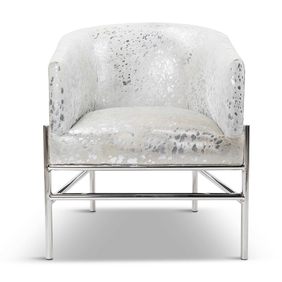 Capri Dining Chair in Silver Speckled Cowhide