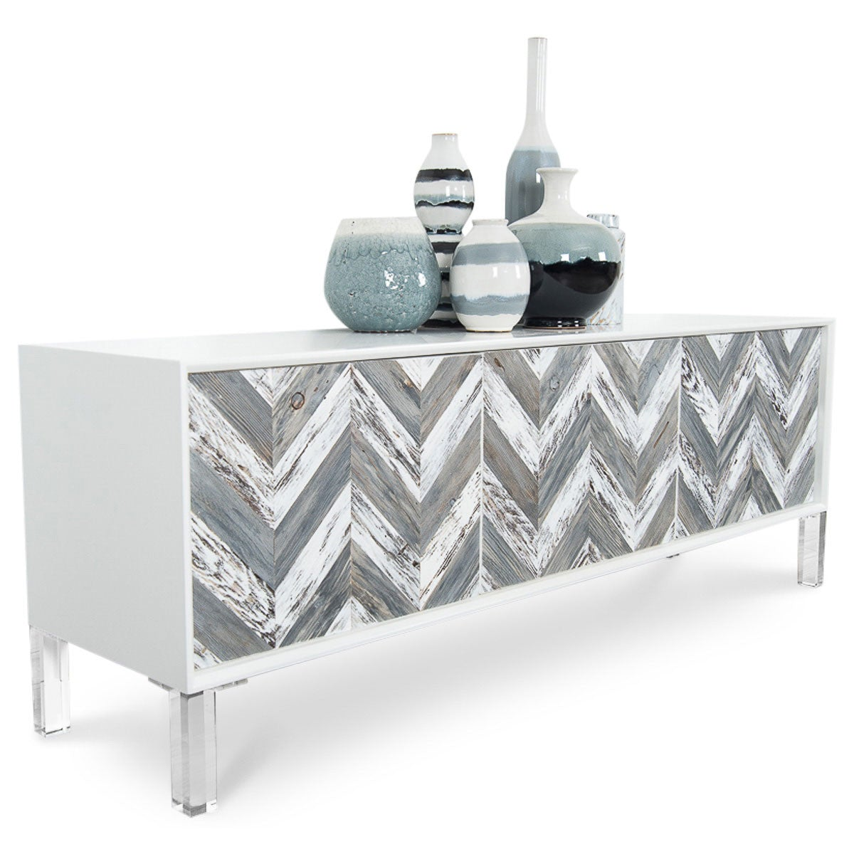 Capri Three Door Credenza Recycled Wood Chevron Modshop
