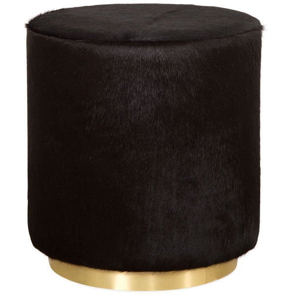 Chubby Ottoman in Black Cowhide
