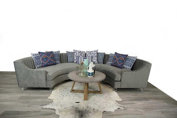 Circle Sectional with Long Tufting in Charcoal Velvet - ModShop1.com