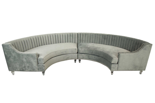 Circle Sectional with Long Tufting in Charcoal Velvet