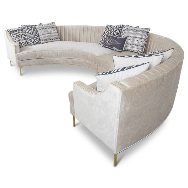 Circle Sectional in Brussels Pearl Velvet - ModShop1.com