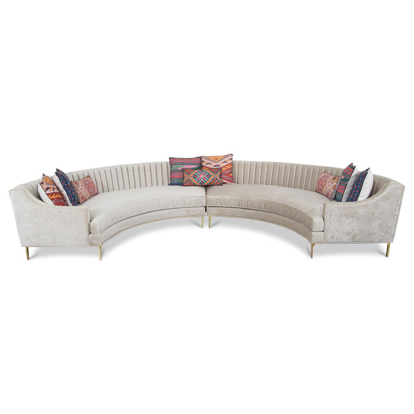Circle Sectional in Brussels Pearl Velvet