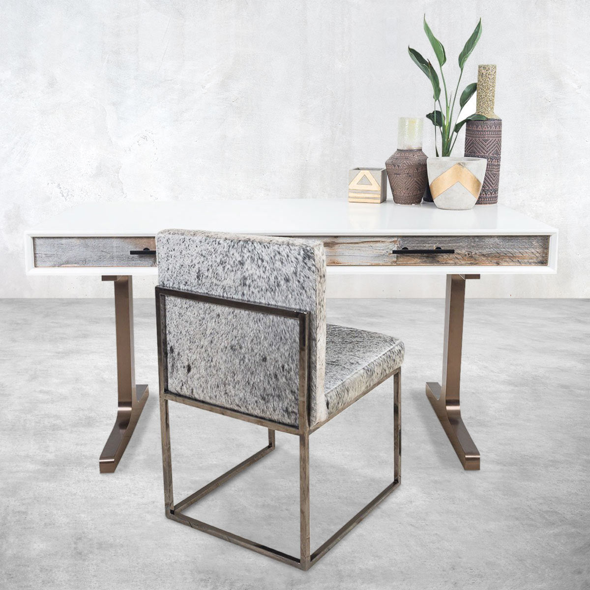 Cody 2 Desk with Brushed Copper T-Legs