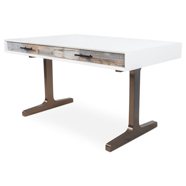 Cody 2 Desk with Brushed Copper T-Legs - ModShop1.com