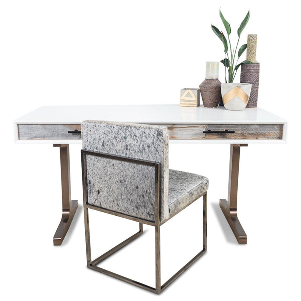 Cody 2 Desk with Solid T Brushed Copper Legs