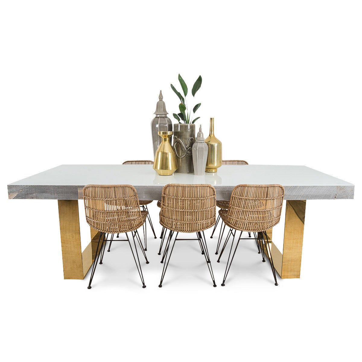 Cody Dining Table with Brass Legs - ModShop1.com