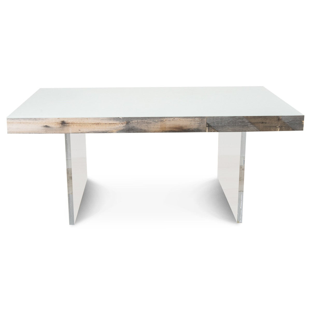 Modern dining table in recycled wood and lucite modshop for Reusable wood