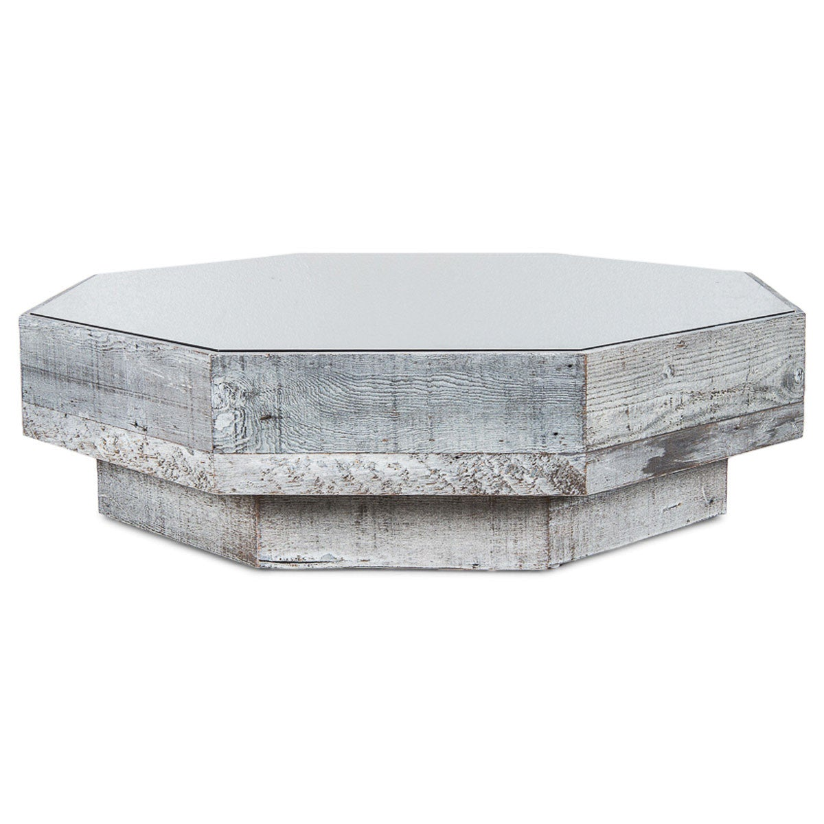 Attirant Recycled Wood/Grey Glass Octagon Coffee Table